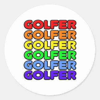 Rainbow Golfer Classic Round Sticker