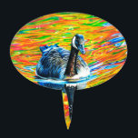 """Rainbow Goose Cake Topper<br><div class=""""desc"""">A colored pencil illustration of a goose on a vibrant,  rainbow colored lake!</div>"""