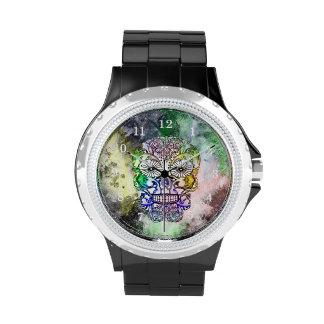 Rainbow Goth Sugar Skull Design Wrist Watches