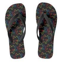 Rainbow Gradient Autism Awareness Flip Flops