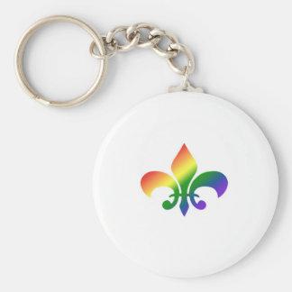 Rainbow Gradient Fleur de Lis Basic Round Button Keychain