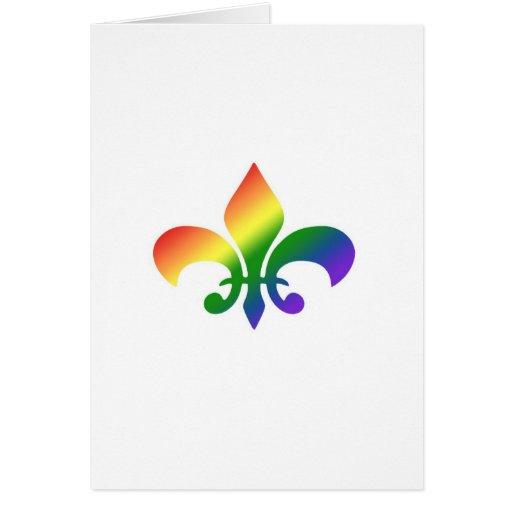 Rainbow Gradient Fleur de Lis Greeting Card