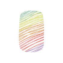 Rainbow Gradient Glitter Thin Stripes Minx Nail Art