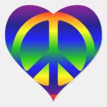 Rainbow Gradient Peace Symbol Heart Sticker