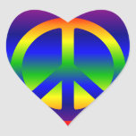 Rainbow Gradient Peace Symbol Heart Stickers