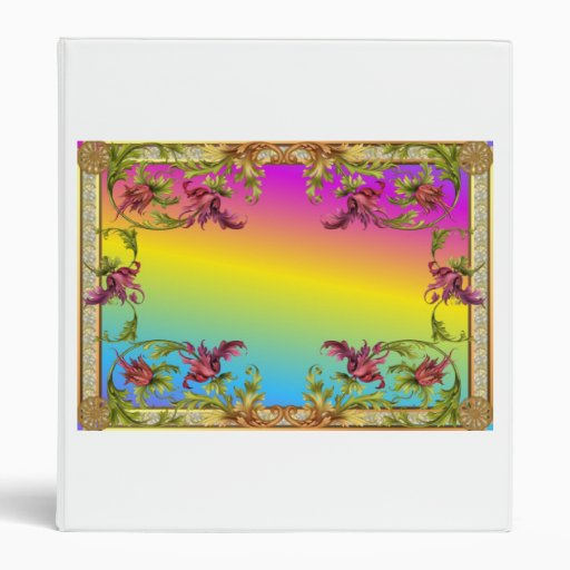 Rainbow gradient with purple flower fleur di lies 3 ring binder