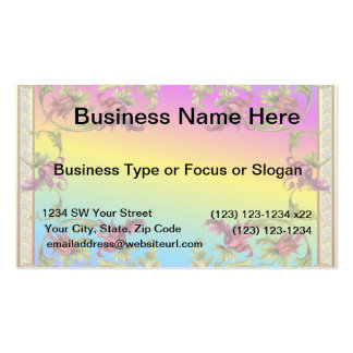 Rainbow gradient with purple flower fleur di lies business card