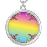 Rainbow gradient with purple flower fleur di lies jewelry