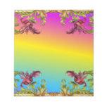 Rainbow gradient with purple flower fleur di lies memo note pads