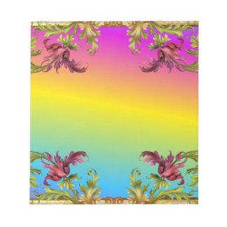 Rainbow gradient with purple flower fleur di lies notepad