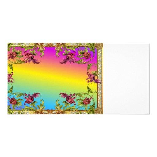 Rainbow gradient with purple flower fleur di lies custom photo card