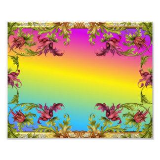 Rainbow gradient with purple flower fleur di lies photograph