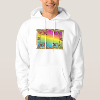 Rainbow gradient with purple flower fleur di lies pullover