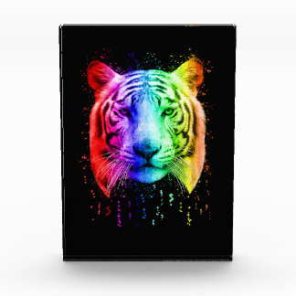 Rainbow Graffiti Paint Spatter Siberian Tiger Acrylic Award