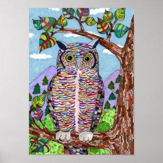 Rainbow Great Horned Owl Folk Art Poster