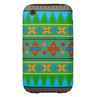 Rainbow green aztec tribal pattern iPhone 3 tough cover