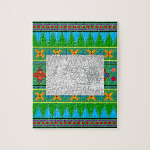Rainbow green aztec tribal pattern jigsaw puzzle