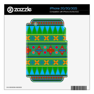 Rainbow green aztec tribal pattern decals for the iPhone 3G