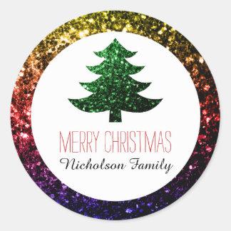 Rainbow + Green Christmas tree sparkles Gift Tag