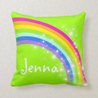 rainbow green girls name Jenna cushion pillow