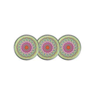 Rainbow Green & Orange Mandala Golf Ball Marker