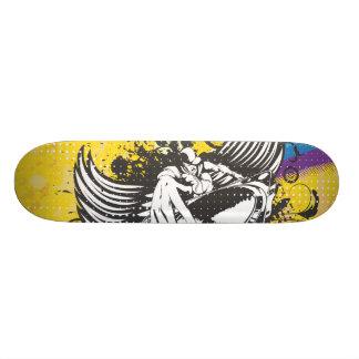 rainbow grunge winged dee jay design skateboard