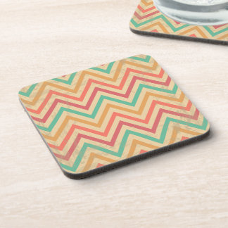 Rainbow Grunge Zigzag Chevrons Coaster
