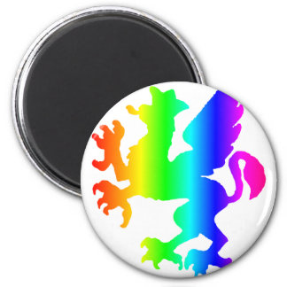 Rainbow Gryphon 2 Inch Round Magnet
