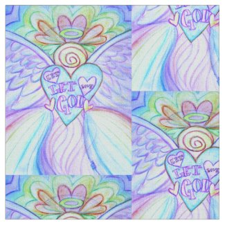 Rainbow Guardian Angel Art Fabric Material