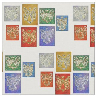 Rainbow Guardian Angels Art Fabric Material