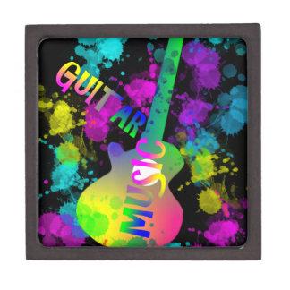 Rainbow Guitar Music Themed Keepsake Box