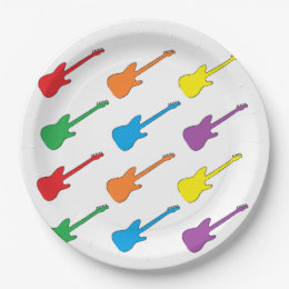 Rainbow Guitar Paper Plates