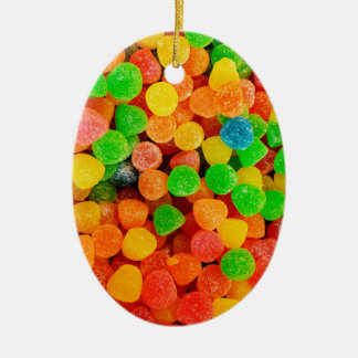 Rainbow Gummy Dots - Candy Print Ceramic Ornament