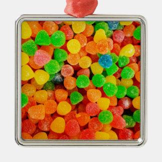 Rainbow Gummy Dots - Candy Print Metal Ornament