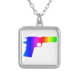 Rainbow Gun Square Pendant Necklace