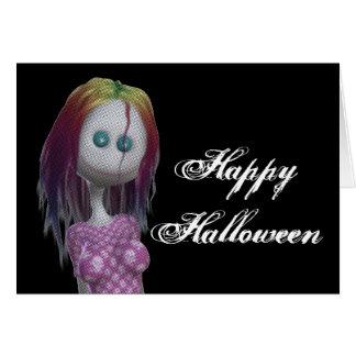 Rainbow Hair 3D Bonga Doll Happy Halloween Card