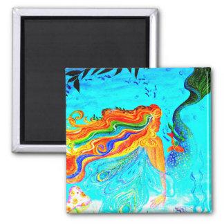 rainbow hair mermaid in the water magnet