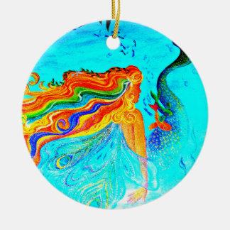 rainbow hair mermaid ornament
