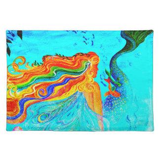 rainbow hair mermaid placemat