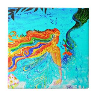 rainbow hair mermaid tile