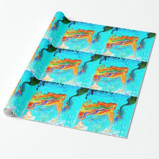 rainbow hair mermaid wrapping paper