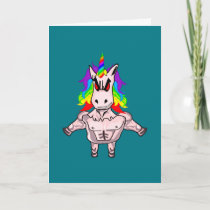 Rainbow Hair Muscular Unicorn Body Building Card