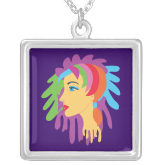 Rainbow Hair Silver Plated Necklace