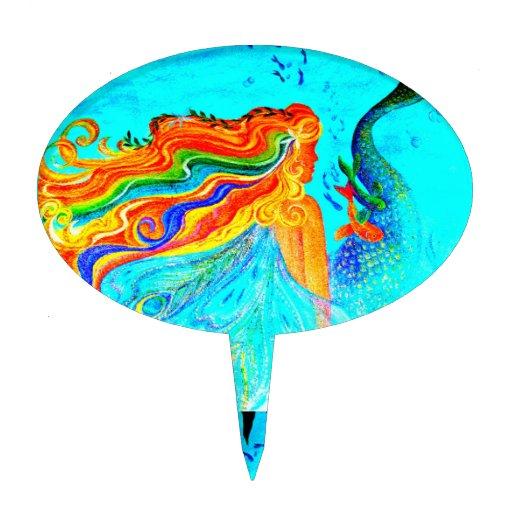 rainbow haired mermaid cake pick