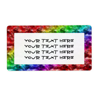 Rainbow Halftone Art Grunge Unique Address Labels