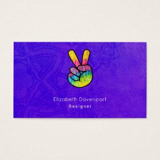 Rainbow Hand Peace Sign Acid Purple Background Business Card