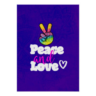 Rainbow Hand Peace Sign Peace and Love Typography