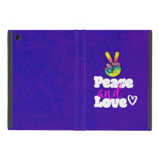 Rainbow Hand Peace Sign Peace and Love Typography Cover For iPad Mini