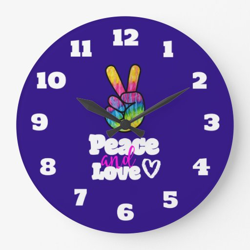 Rainbow Hand Peace Sign Peace and Love Typography Large Clock