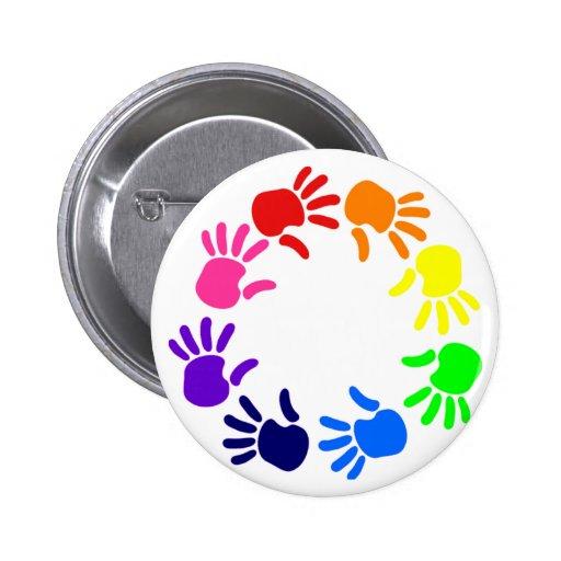 Rainbow Hand Print Button